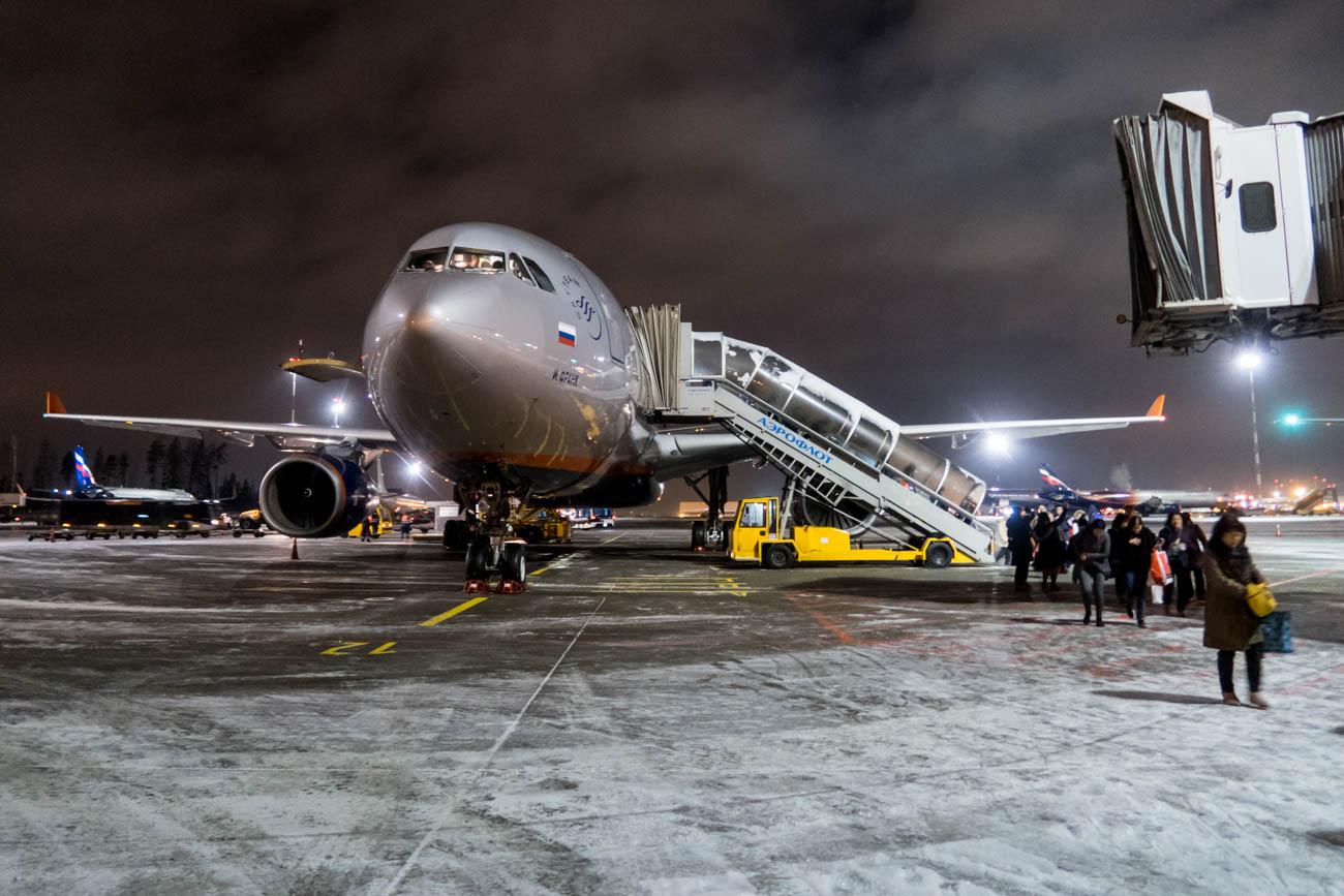 Aeroflot A330-300 on Icy Moscow Sheremetyevo Apron