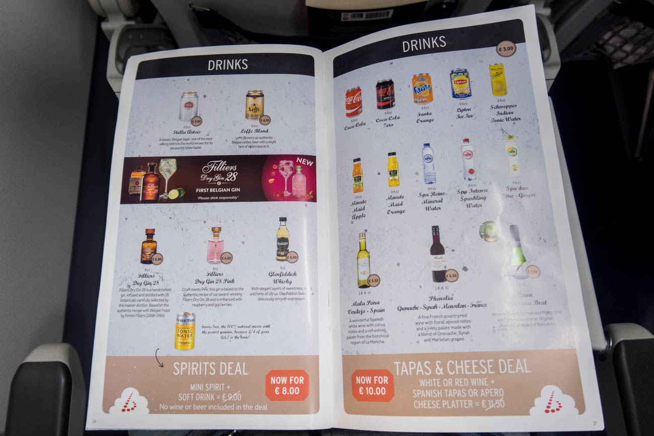 Brussels Airlines Drinks Menu