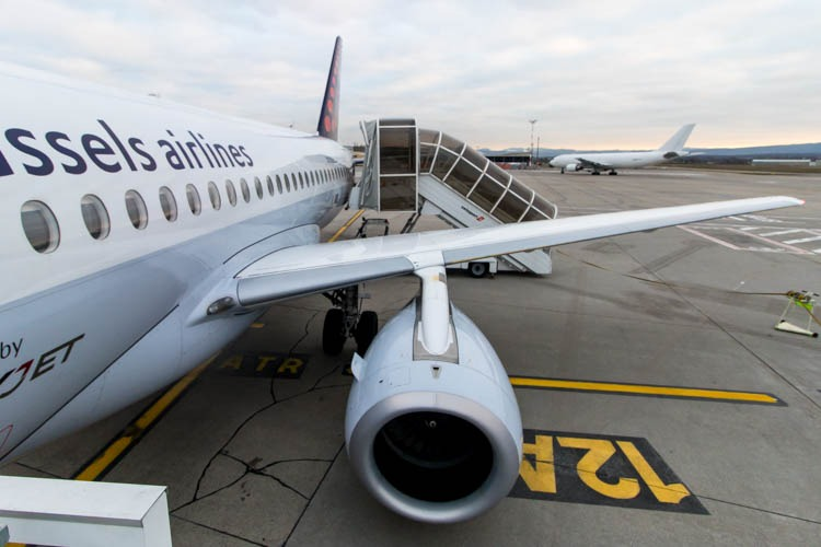 Disembarking Brussels Airlines SSJ