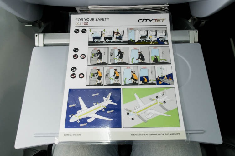 Brussels Airlines CityJet Sukhoi SSJ Safety Card