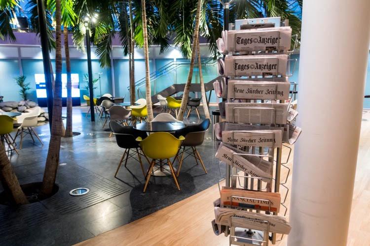 Basel EuroAirport Skyview Lounge Newspapers