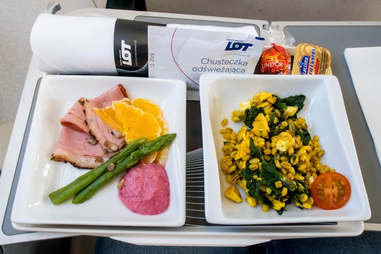LOT Polish Airlines Intra-European Business Class Breakfast