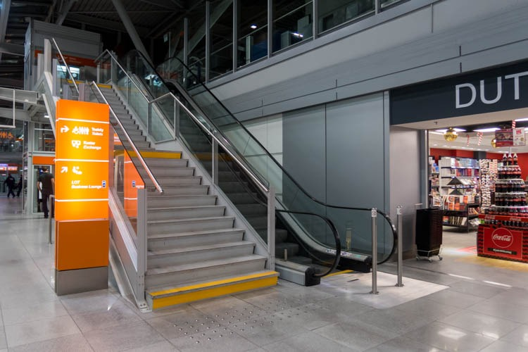 Stairs to Polonez Lounge at Warsaw Airport