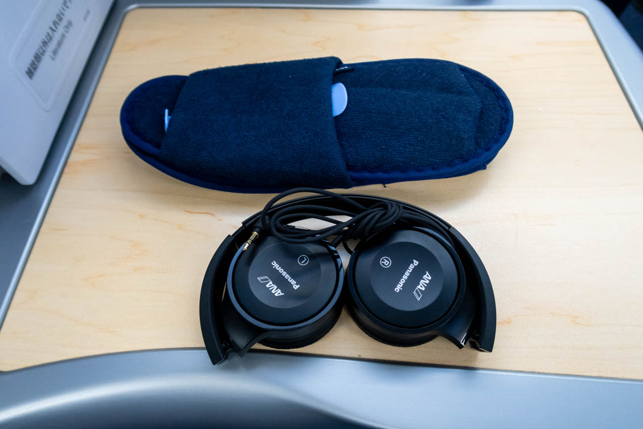 ANA Business Class Headphones and Slippers