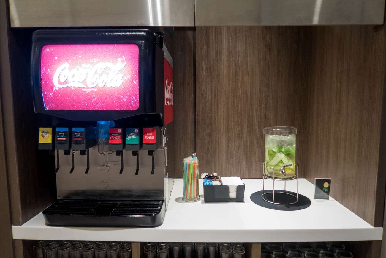 Dnata Lounge Singapore Changi Terminal 1 Soda and Cucumber Water