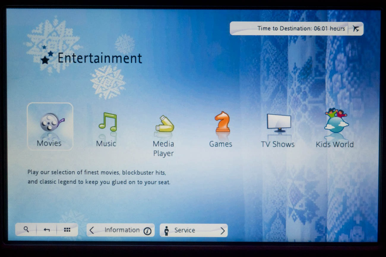 Garuda Indonesia In-Flight Entertainment System Main Menu