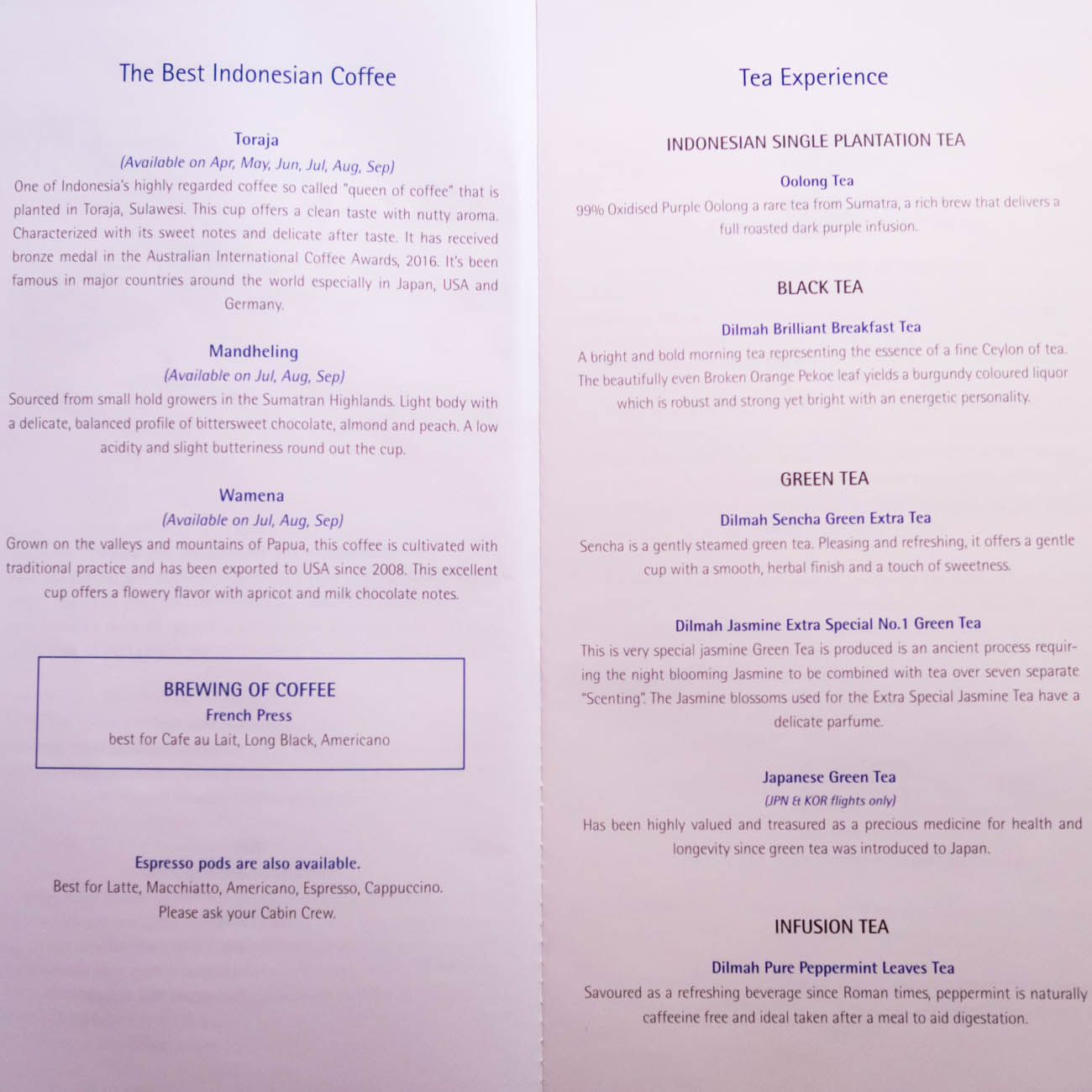 Garuda Indonesia Business Class Drink Menu