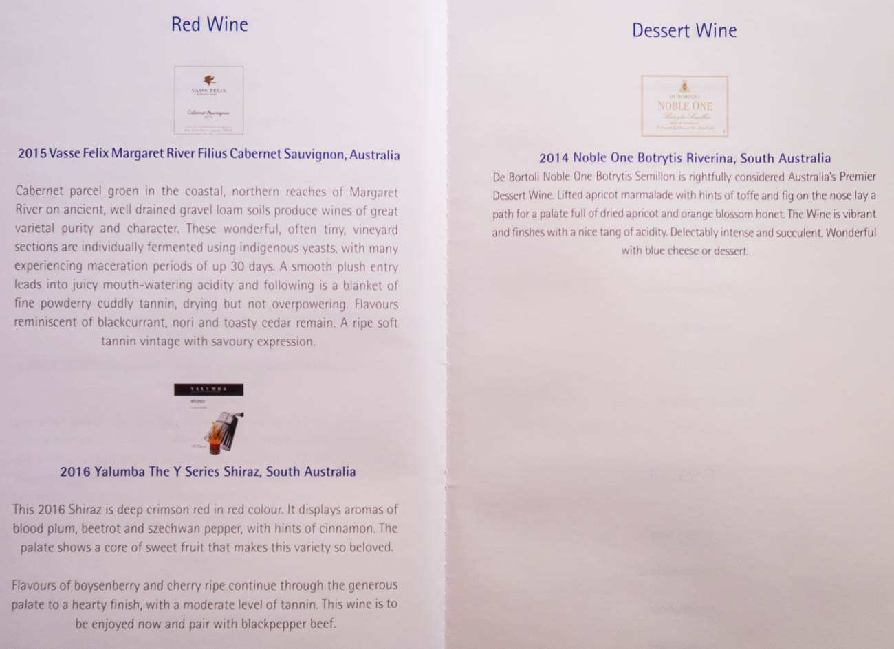 Garuda Indonesia Business Class Wine Menu