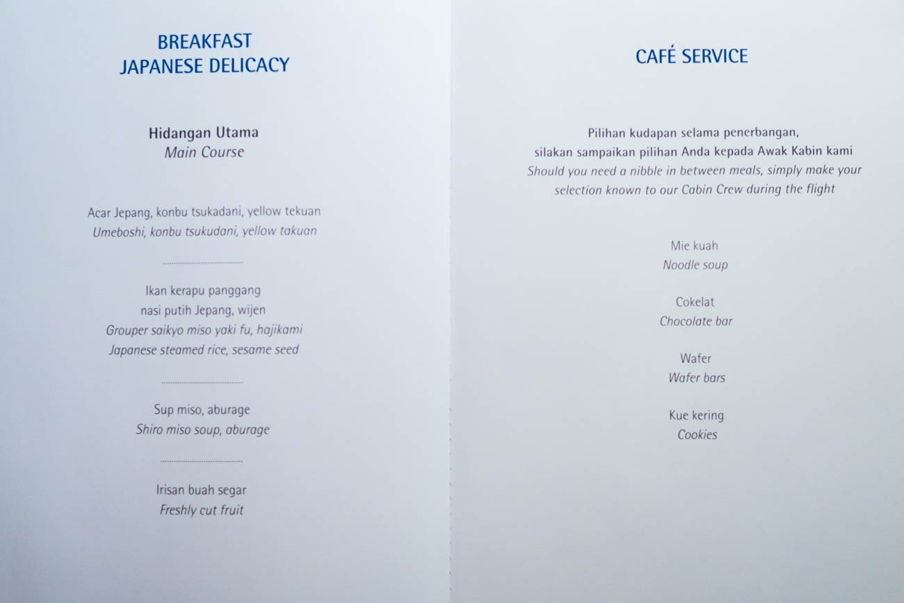 Garuda Indonesia Business Class Menu