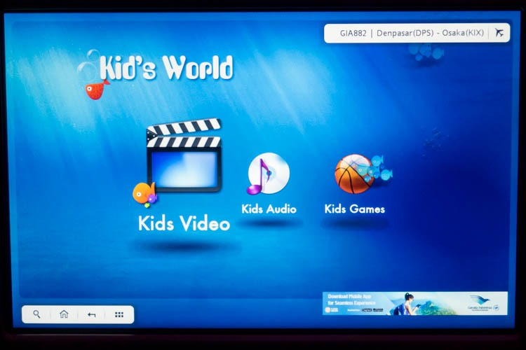 Garuda Indonesia In-Flight Entertainment System Kids Menu