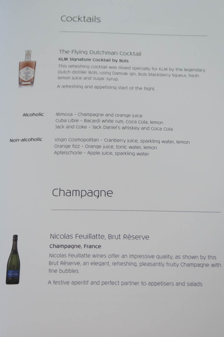 KLM Business Class Alcohol Menu