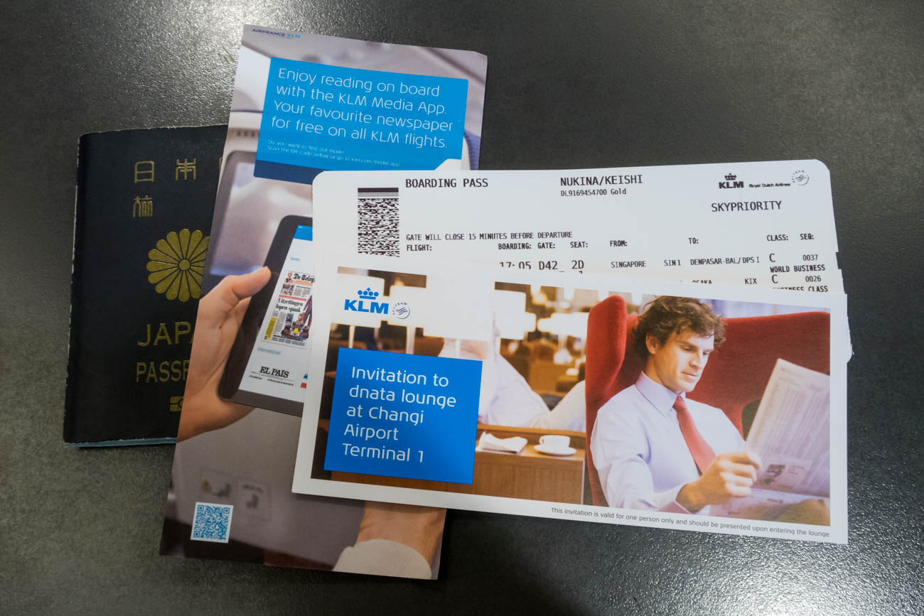 KLM Boarding Pass and Lounge Invitation