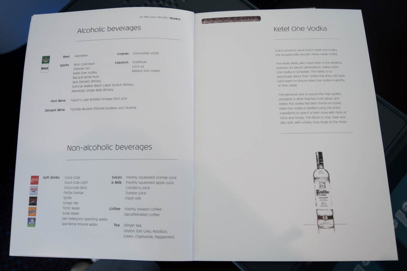 KLM Business Class Drink Menu