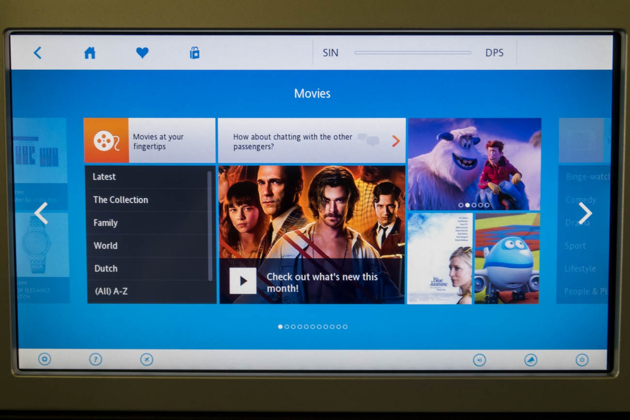 KLM In-Flight Entertainment System Movies
