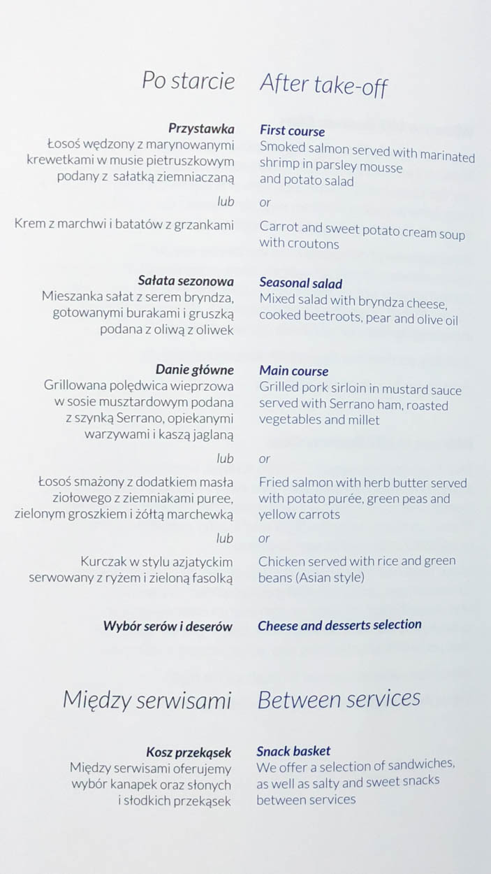 LOT Polish Airlines Business Class Dinner Menu