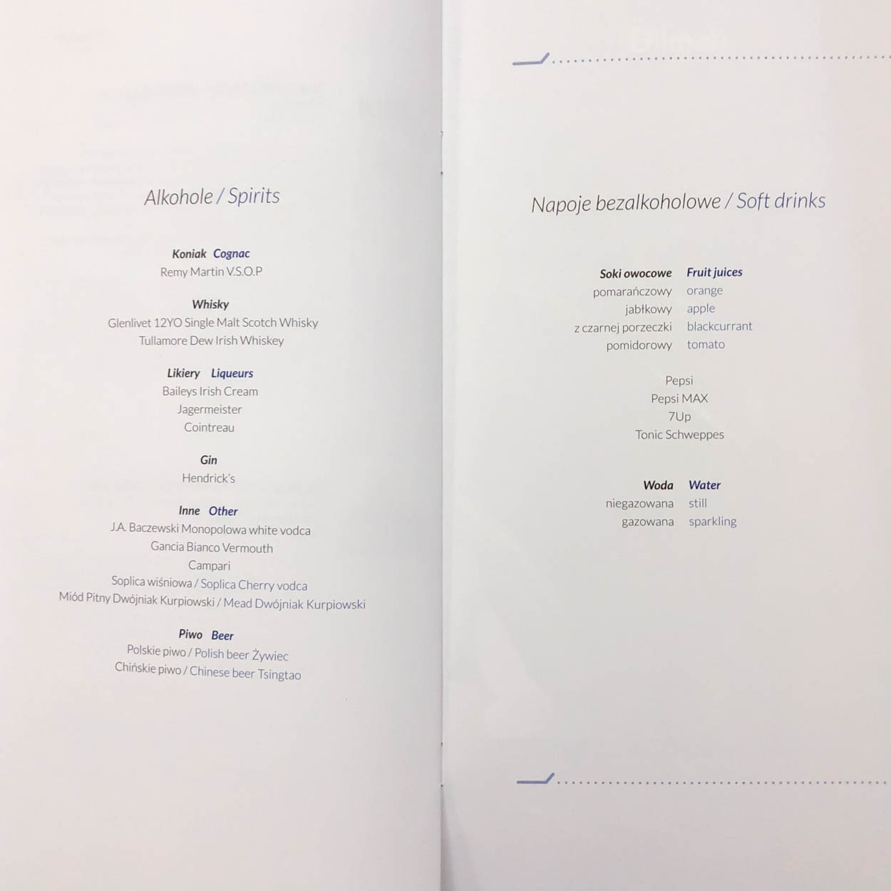 LOT Business Class Drink Menu