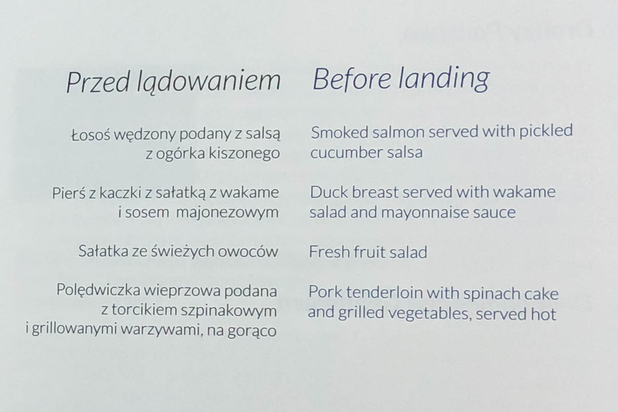LOT Business Class Pre-Landing Meal Menu
