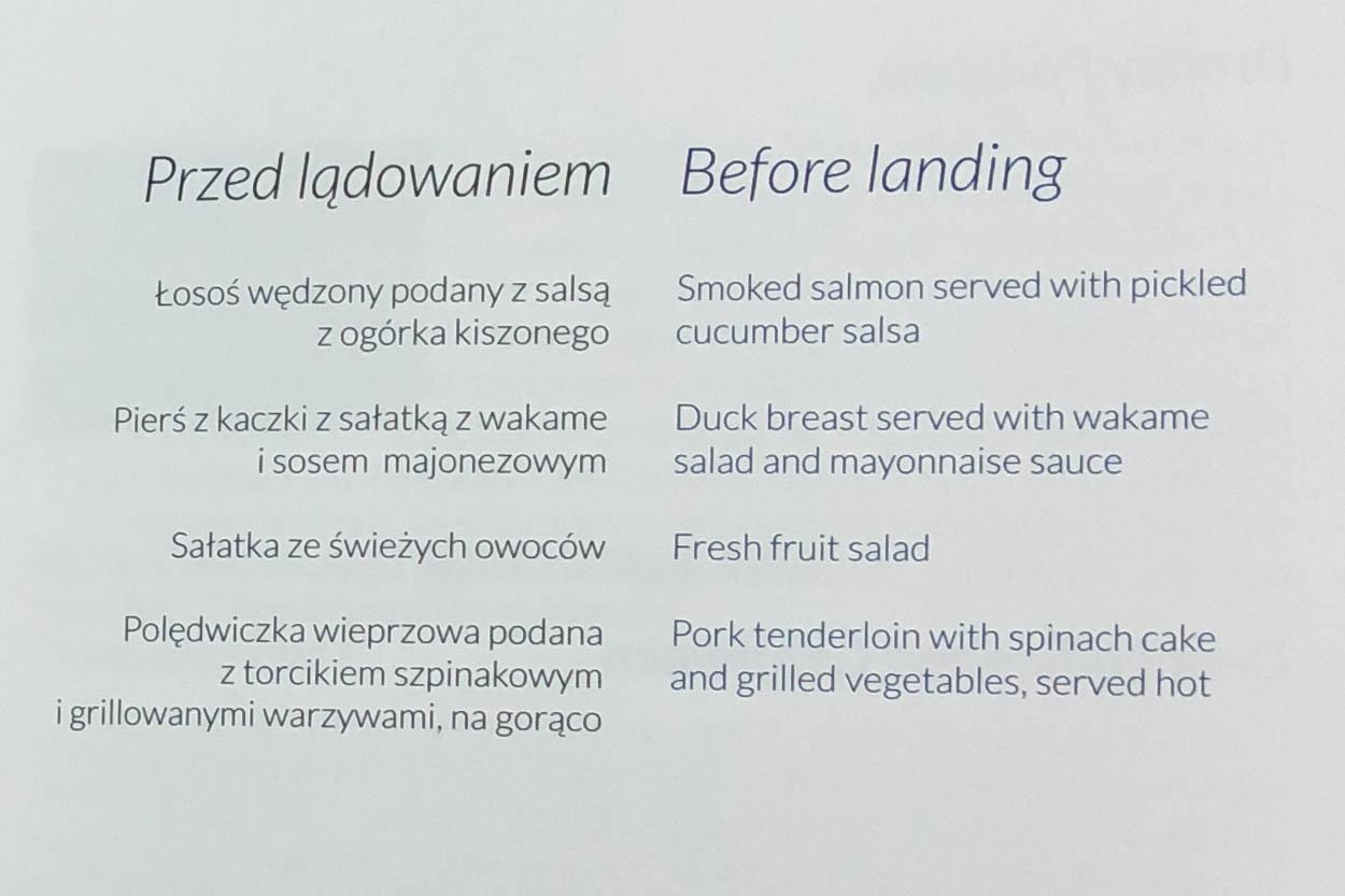 LOT Business Class Pre-Landing Meal Menu