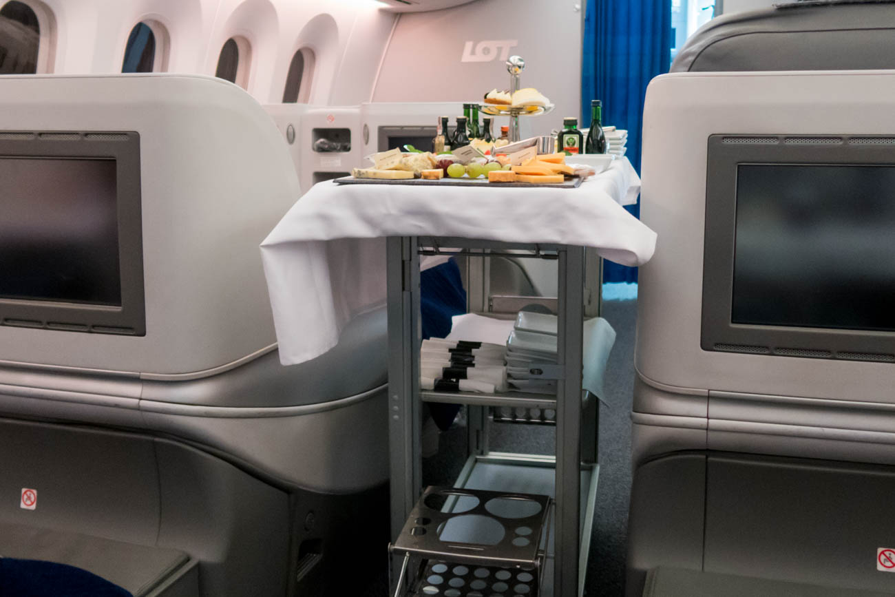 LOT Polish Airlines Business Class Dinner Dessert Cart