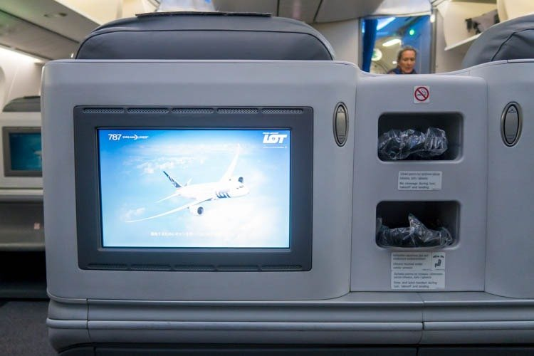 LOT Polish Airlines Business Class IFE Screen