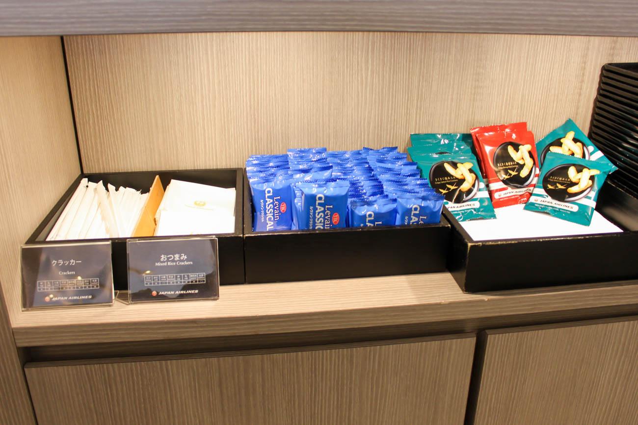 International JAL Sakura Lounge Kansai Airport Snacks