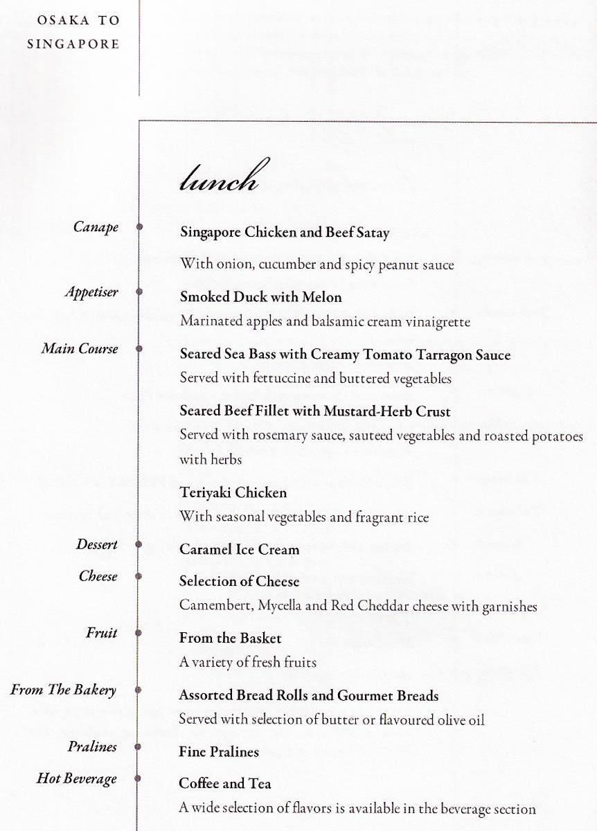 Singapore Airlines Osaka - Singapore Business Class Lunch Menu