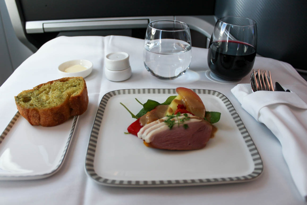 Singapore Airlines Business Class Lunch