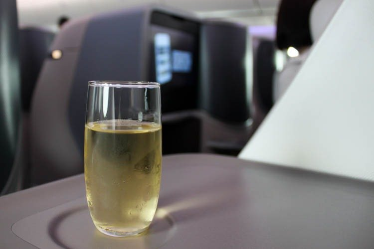 Singapore Airlines Business Class Welcome Drink