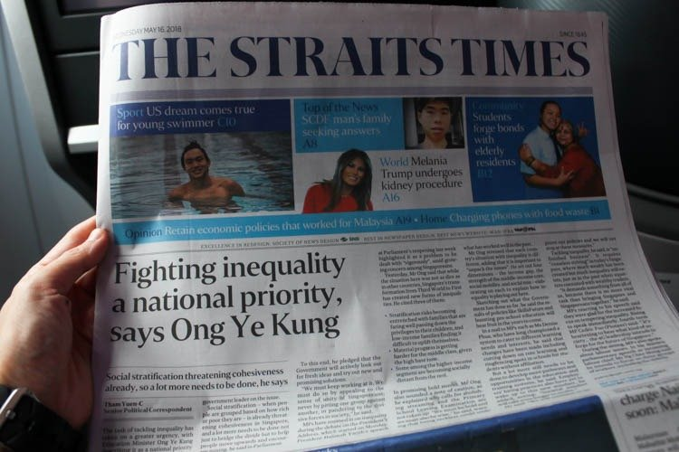 Singapore Airlines Business Class Newspaper