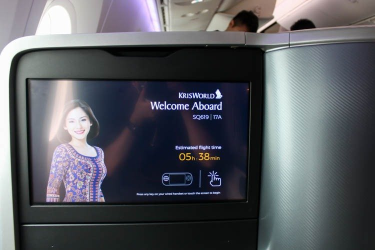 Singapore Airlines 787-10 Business Class Seat Screen