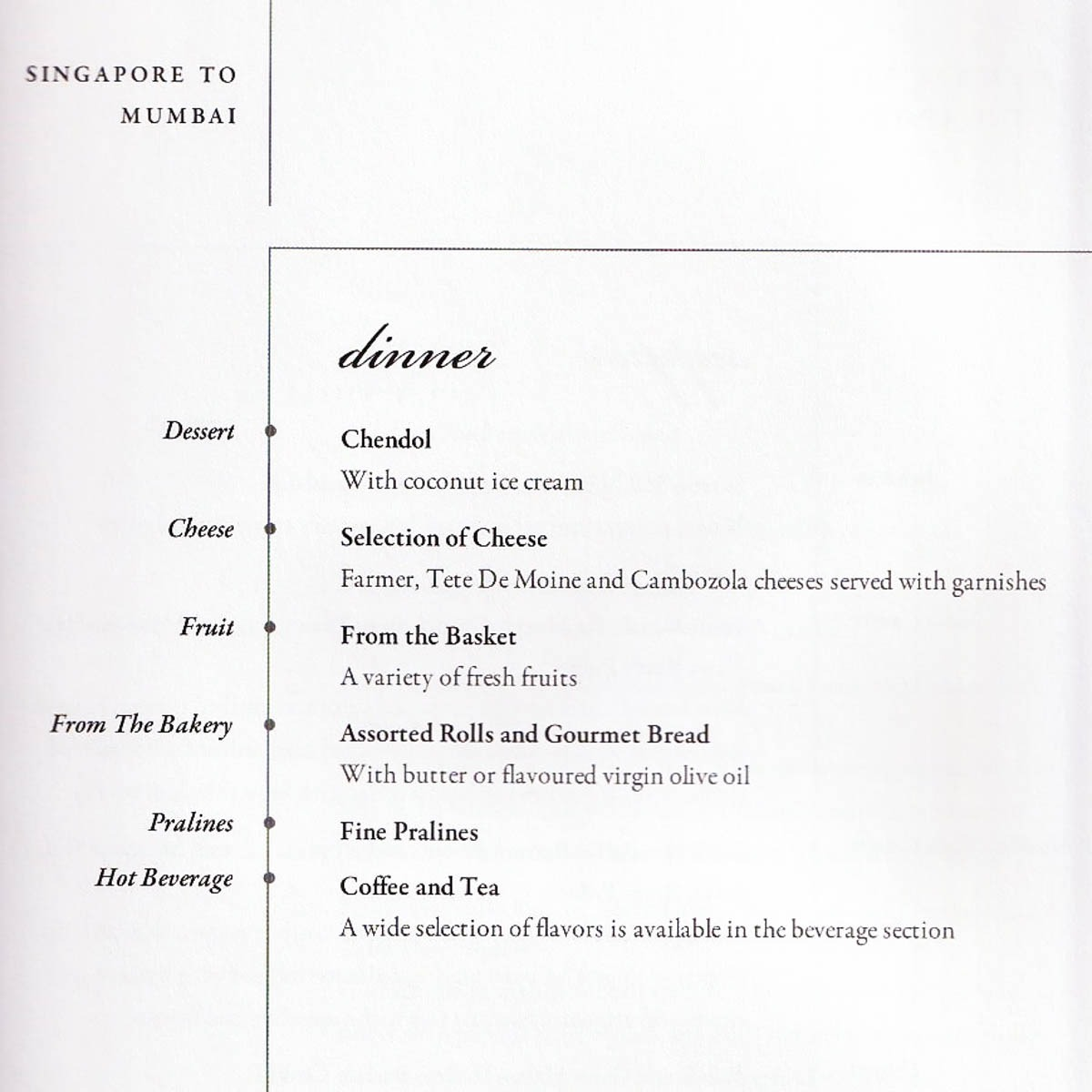 Singapore Airlines Business Class Dinner Menu