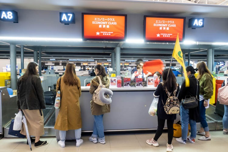 Hong Kong Airlines Check-in Counters at Osaka Kansai Airport