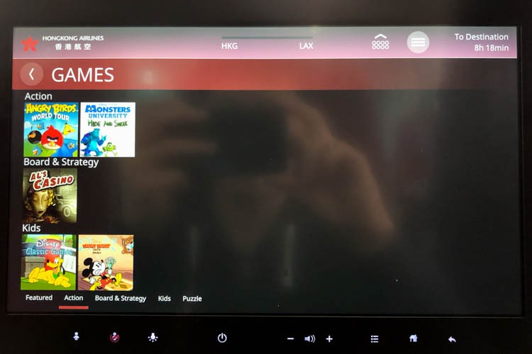 Hong Kong Airlines A350 In-Flight Entertainment (Games)