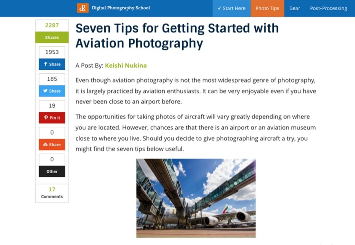 Digital Photography School - Seven Tips for Getting Started with Aviation Photography (Written by: Keishi Nukina)