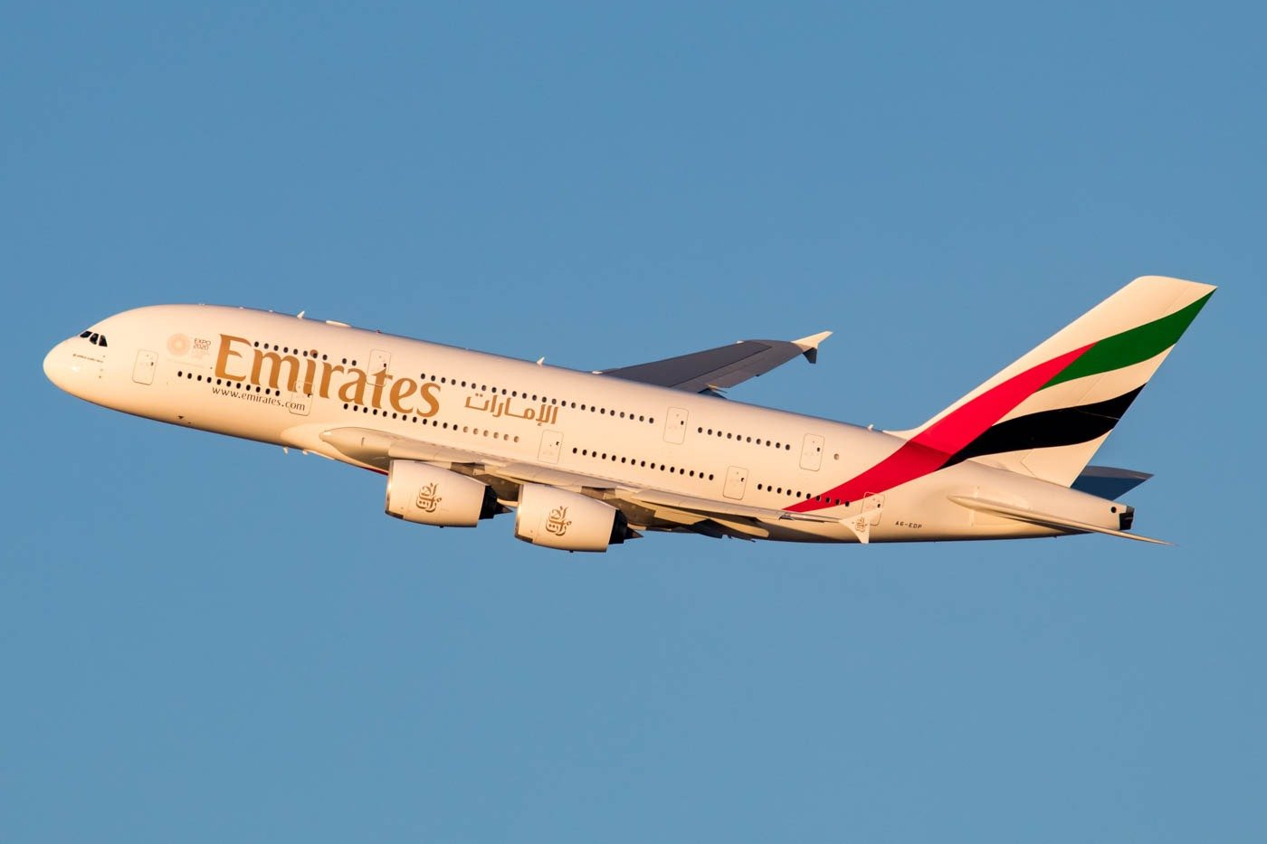 Emirates Airbus A380-800 Departing New York JFK