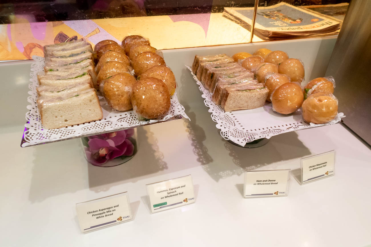 Sandwiches in Thai Airways Lounge in Singapore