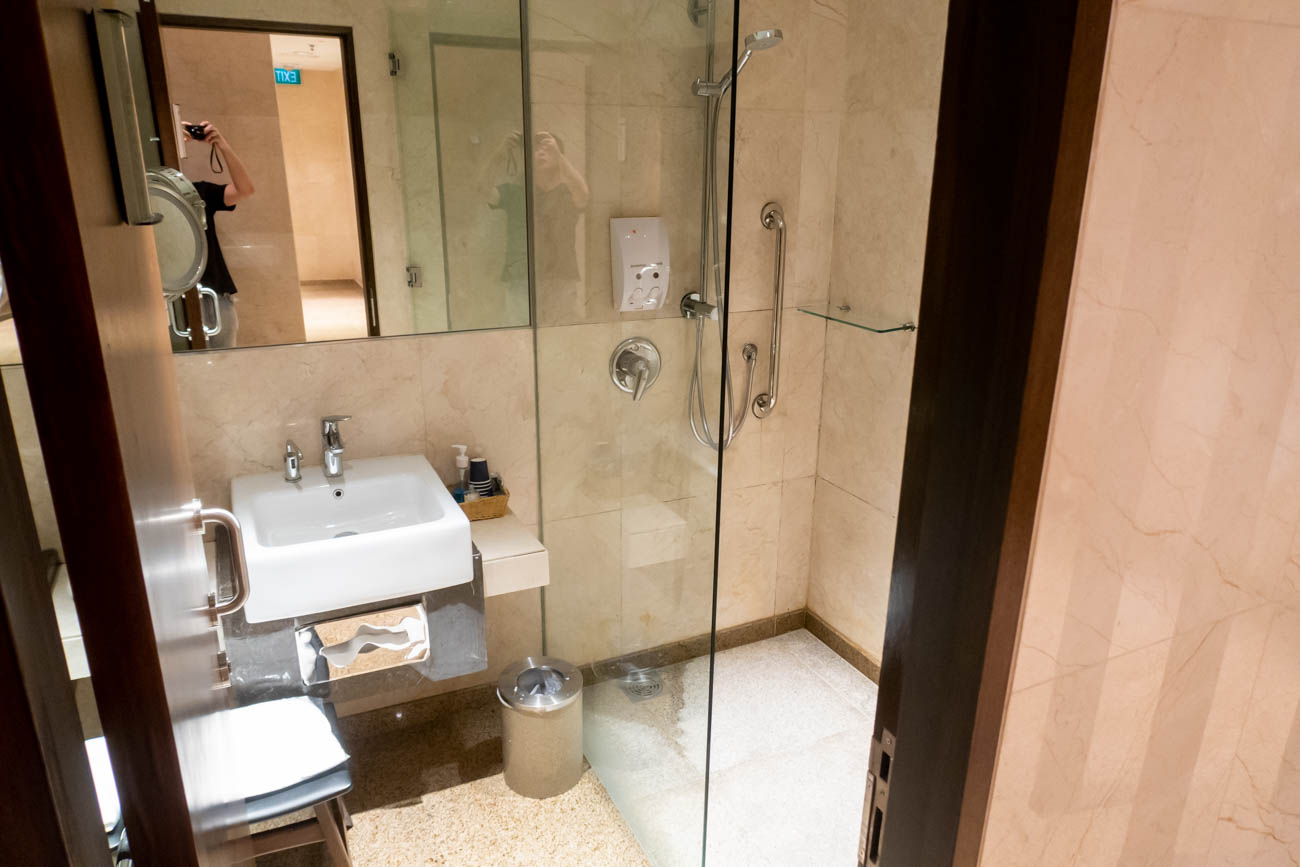 Shower at SilverKris Business Class Lounge at Changi T2