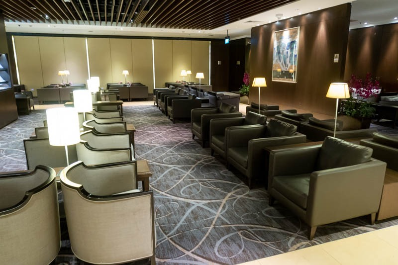 Sofas in Singapore Airlines Lounge at Changi Airport