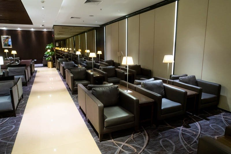 Leather Sofas in Singapore Airlines Business Class Lounge at Cha