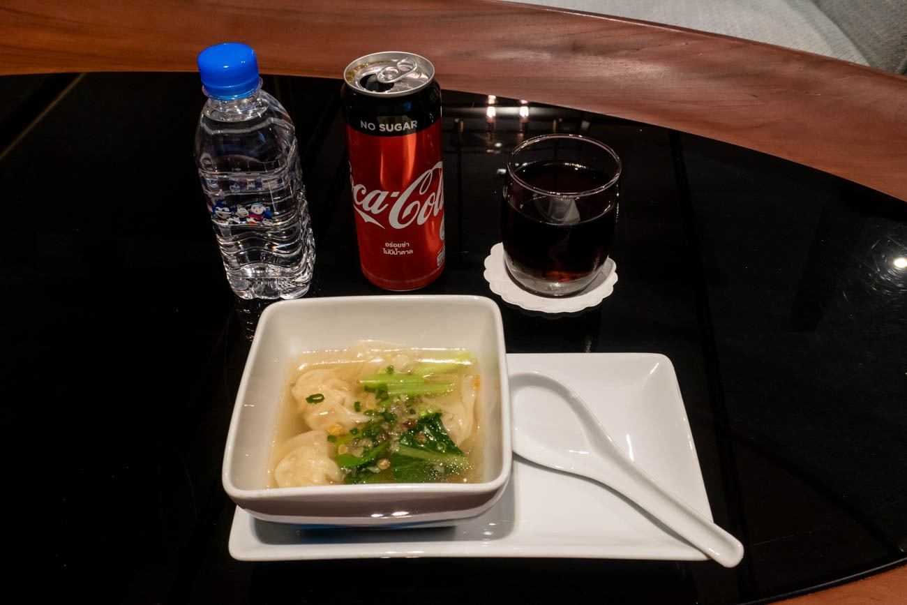 Bangkok Airways Blue Ribbon Club Lounge Shrimp Wonton Soup