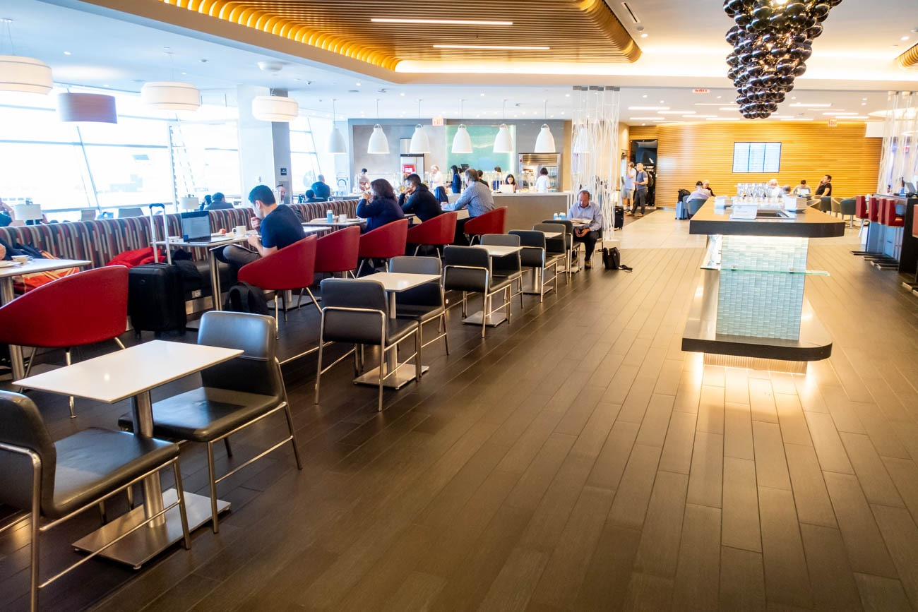 Tables in American Airlines Flagship Lounge at JFK