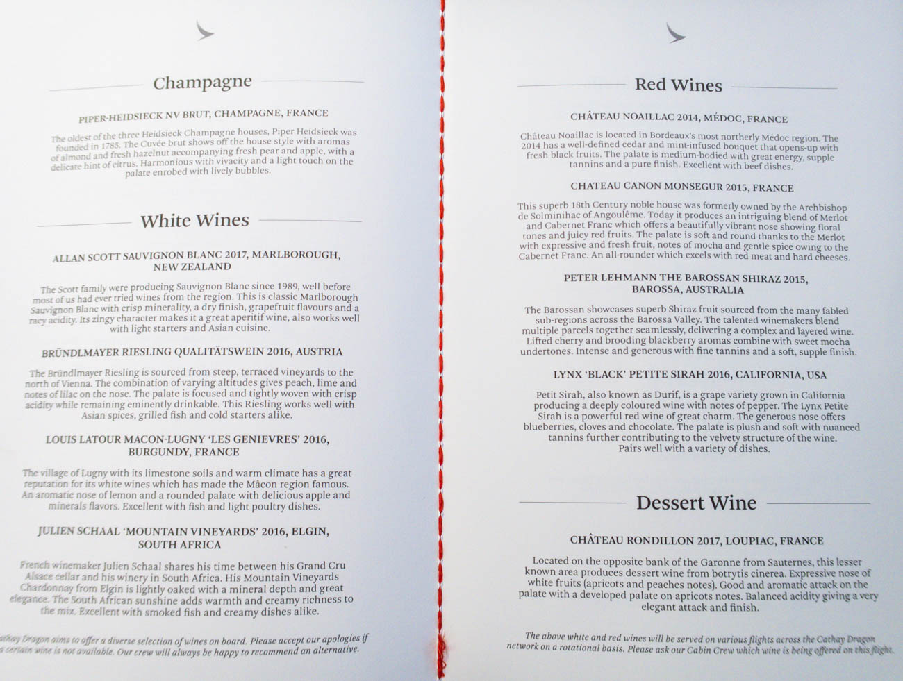 Cathay Dragon Business Class Wine List