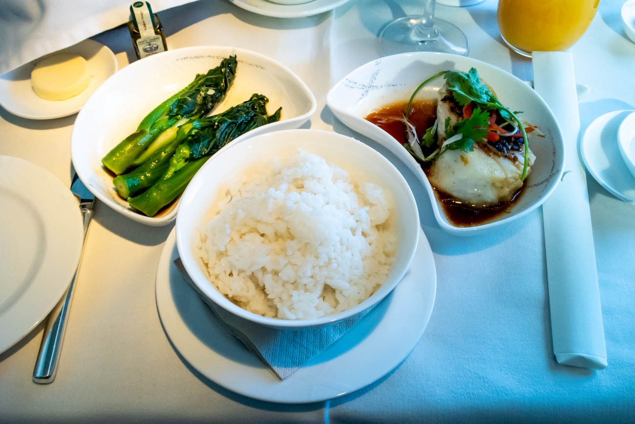 Cathay Pacific First Class Dinner