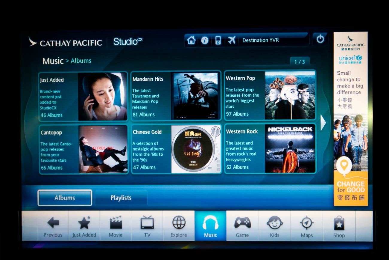 Cathay Pacific In-Flight Entertainment Music
