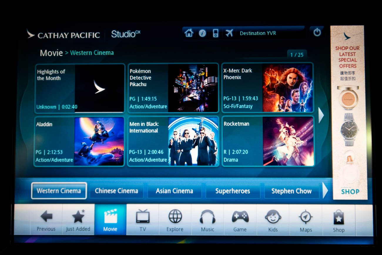 Cathay Pacific In-Flight Entertainment Movies