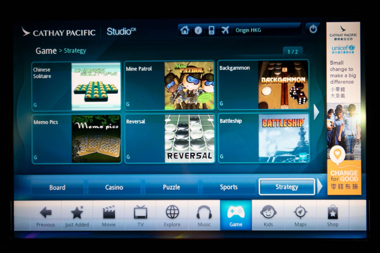 Cathay Pacific In-Flight Entertainment Games