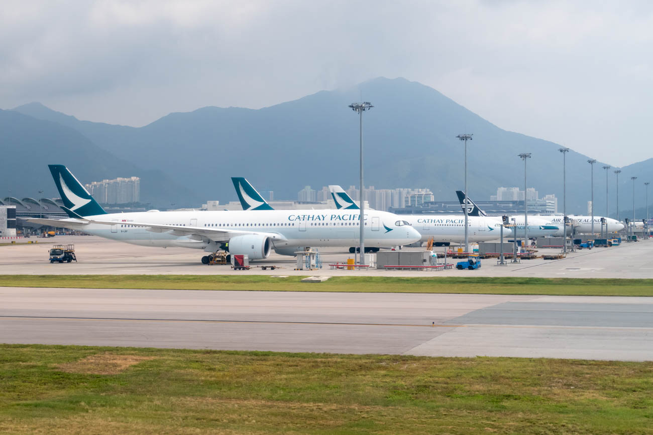 Cathay Pacific Aircraft at Hong Kong Airport