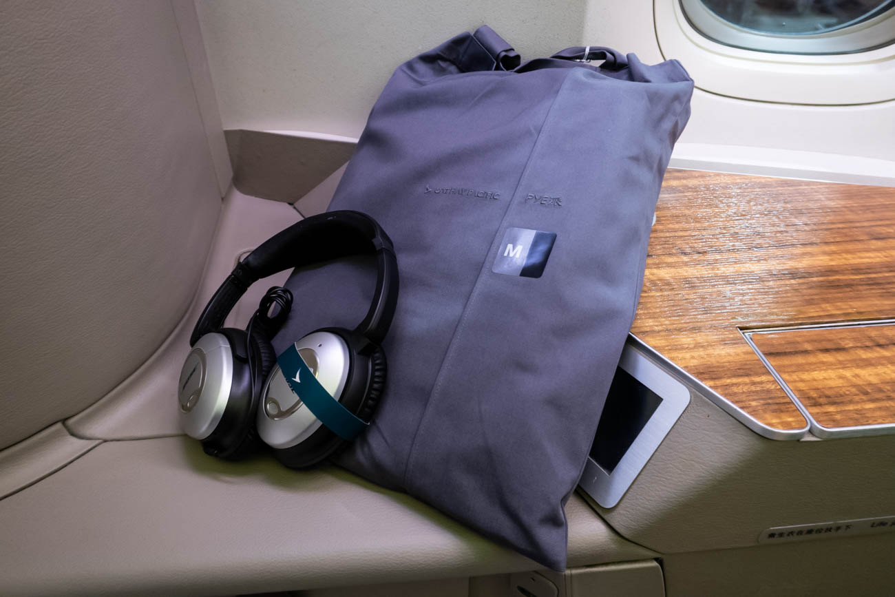 Pajamas Onboard Cathay Pacific First Class from Vancouver to New