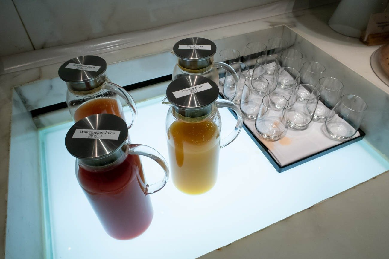 Cathay Pacific The Wing First Lounge Juices