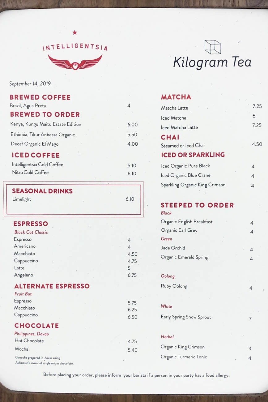 Intelligentsia Coffee Menu at TWA Hotel